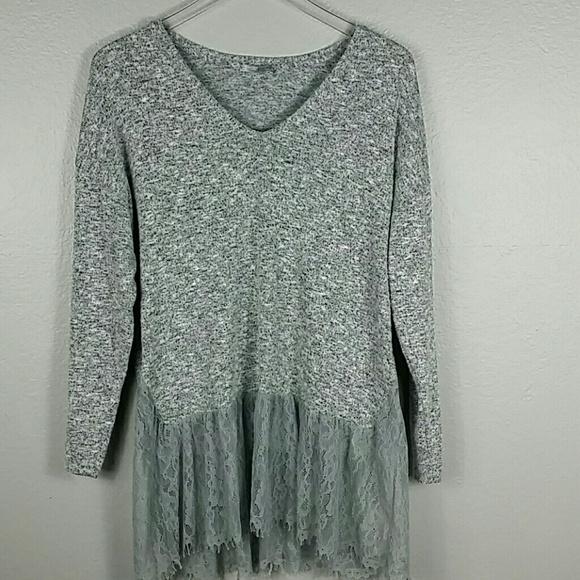 55ca854d Zara Sweaters | Gray Knit And Peplum Lace Hem Sweater Top | Poshmark